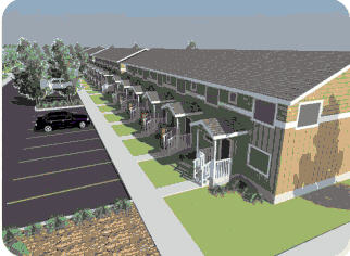 artist's rendering of the exterior of Cypress Townhomes, Fort St. John, BC
