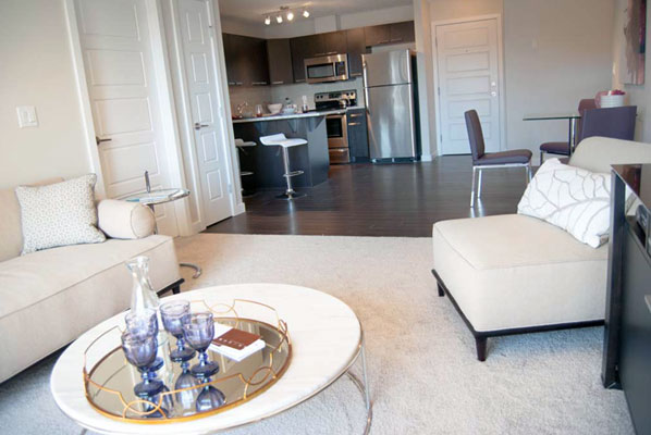 photo of kitchen, dining, and living rooms at Pacific Rise, Edmonton, Alberta